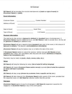 Free Dj Contract Agreement Template  Example