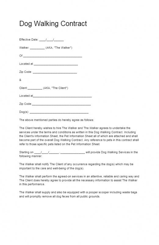 Free Dog Training Contract Template Word
