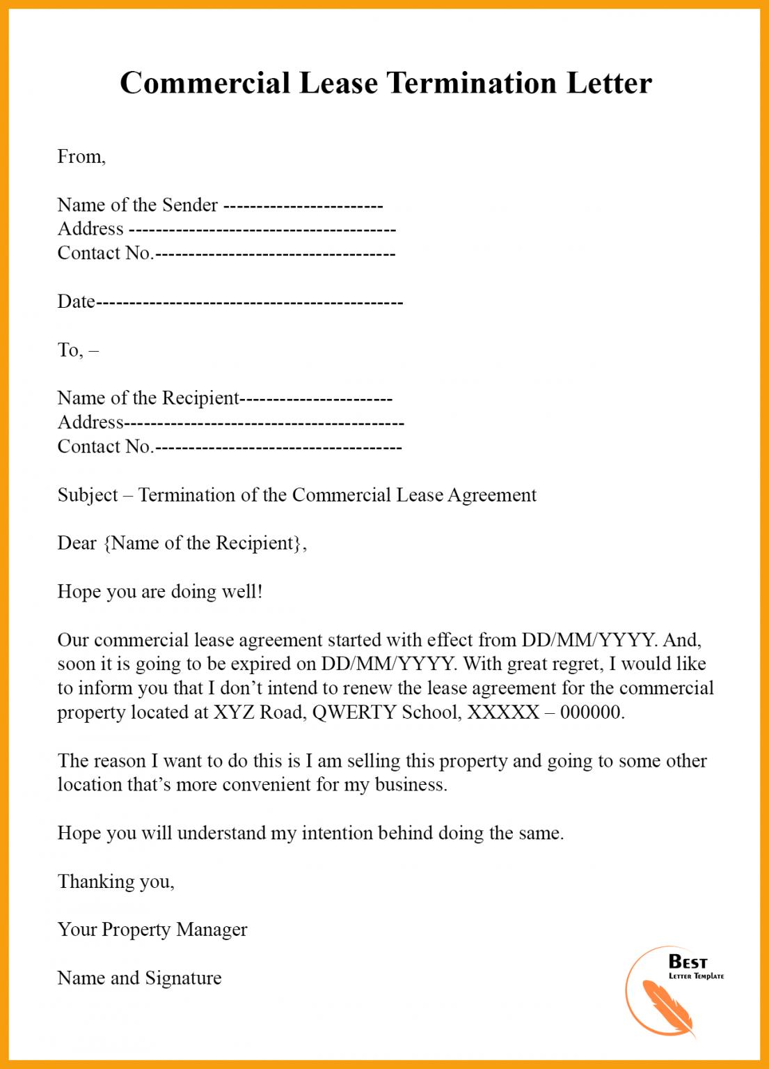 Free End Lease Letter Template Pdf Example