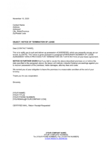 Free End Lease Letter Template Word
