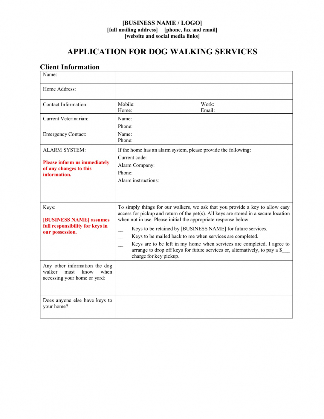 Free Pet Sitting Service Agreement Contract Template Excel