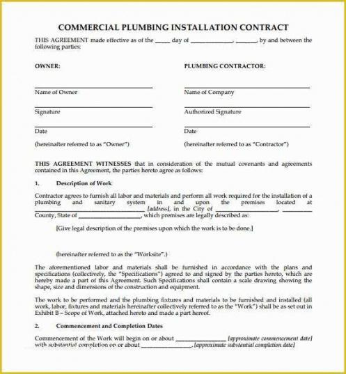 Free Plumbing Service Contract Template Excel