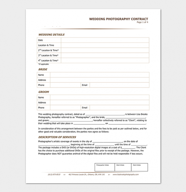 Free Portrait Photography Contract Template Pdf Sample