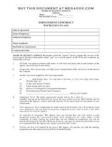 Free Security Guard Service Contract Template Excel Sample