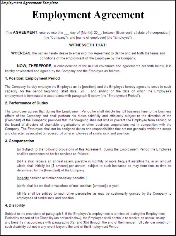 Hourly Employee Contract Template Doc Example