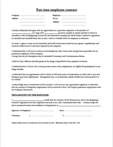 Part Time Employment Contract Template Pdf