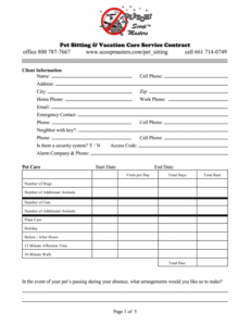Pet Sitting Service Agreement Contract Template Doc