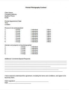 Portrait Photography Contract Template Word Sample