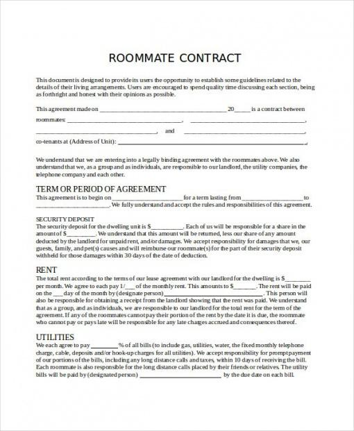 Printable Allowance Contract Template Doc Example