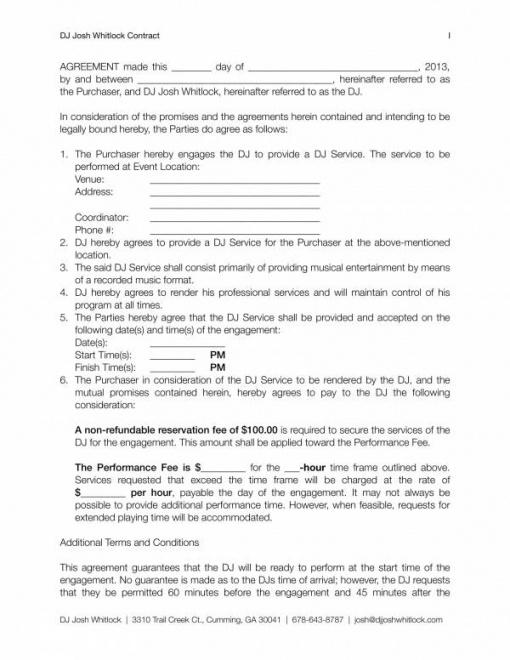 Printable Dj Contract Agreement Template