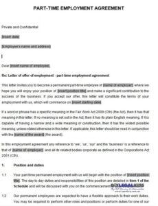 Printable Part Time Employment Contract Template Excel Example
