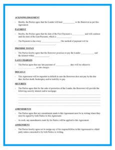 Printable Personal Loan Repayment Contract Template Word Example
