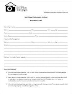 Printable Portrait Photography Contract Template Pdf Sample