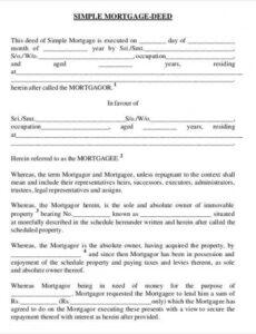 Printable Private Mortgage Contract Template Excel Sample