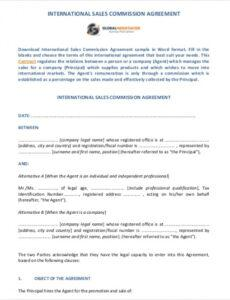 Printable Real Estate Agent Commission Contract Template Pdf Example