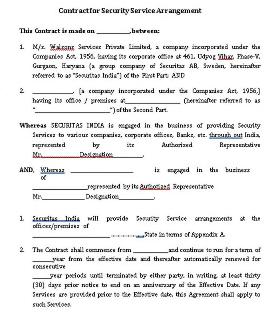 Printable Security Guard Service Contract Template Pdf Example