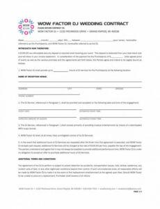 Professional Dj Contract Agreement Template  Sample