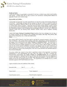 Professional Dog Training Contract Template Pdf Sample