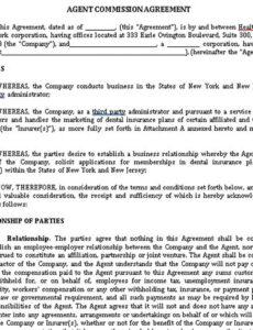 Professional Individual Commission Contract Template Pdf Example