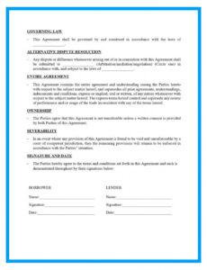 Professional Personal Loan Repayment Contract Template Word