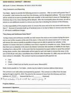 Professional Snow Removal Contract Template Word Example