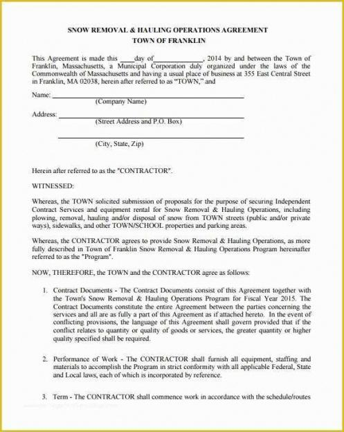 Snow Removal Contract Template Doc