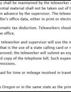 Working From Home Policy Template Excel Sample