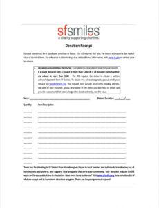 Charitable Contribution Statement Template Pdf Example