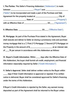 Costum Owner Financed Home Contract Template Excel Example