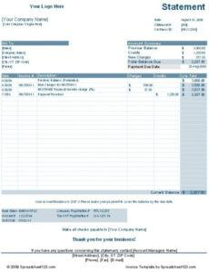 Customer Statement Of Account Template Pdf Example