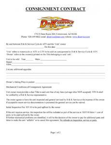 Free Consignment Sales Contract Template Doc
