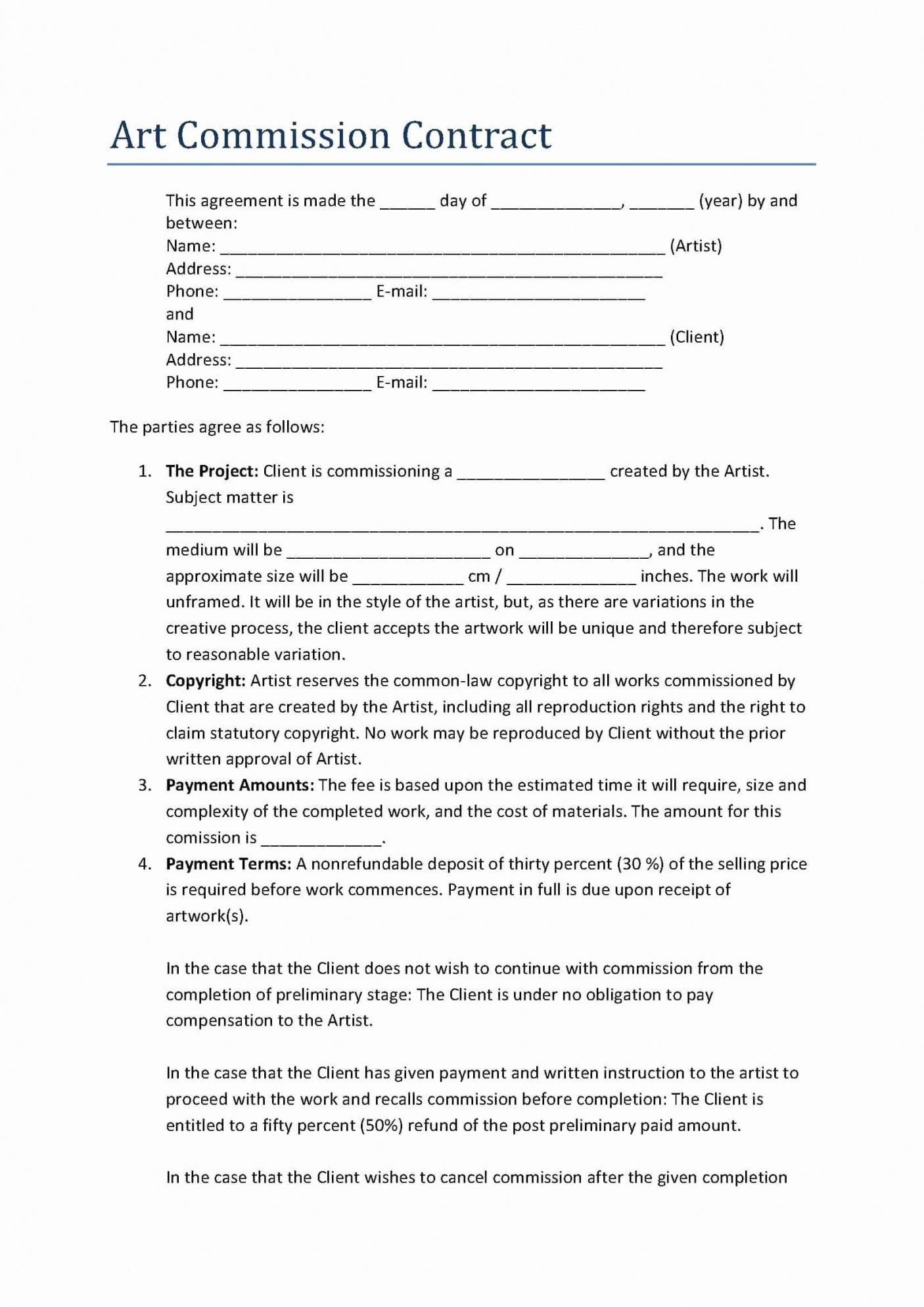 Free Informal Commission Contract Template
