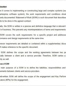 Free Performance Work Statement Template Doc Example