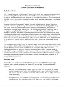 Professional College Personal Statement Template Excel Sample
