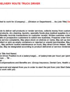 Professional Delivery Driver Contract Template Doc Sample