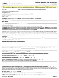 Professional Facility Use Contract Template Excel Sample