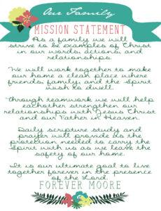 Best Family Mission Statement Template Word Example