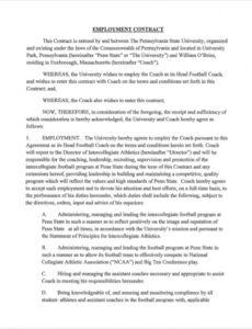 Best Part Time Employee Contract Template Word Example