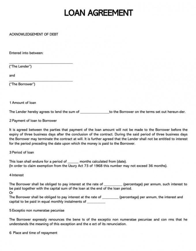 Car Finance Contract Template Excel