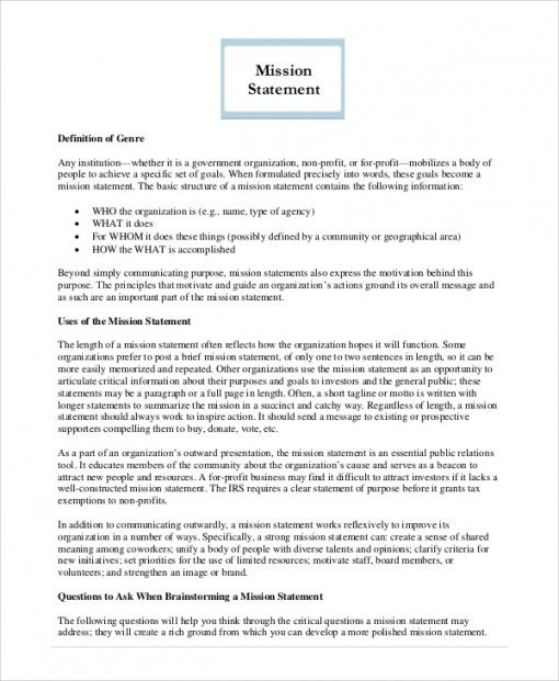 Costum Company Mission Statement Template Excel Example