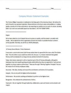 Costum Company Mission Statement Template Word Sample