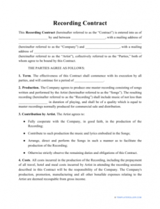 Costum Songwriting Contract Template Doc