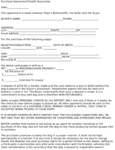 Costum Transfer Of Dog Ownership Contract Template  Sample