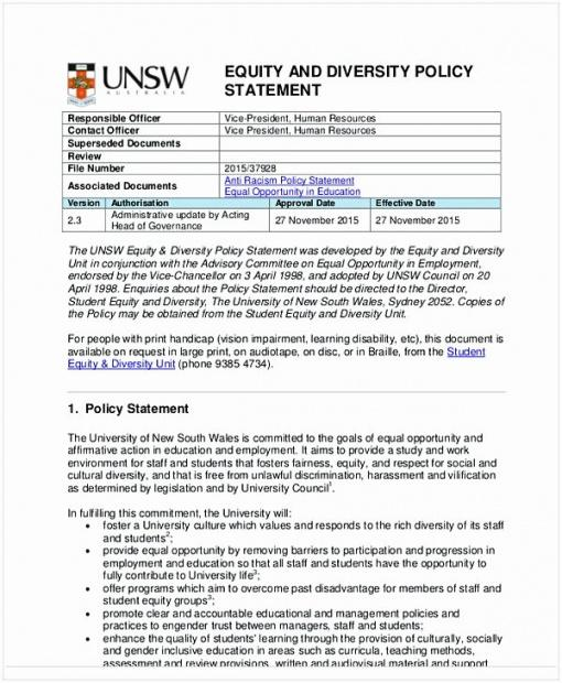 Diversity Policy Statement Template Doc Example