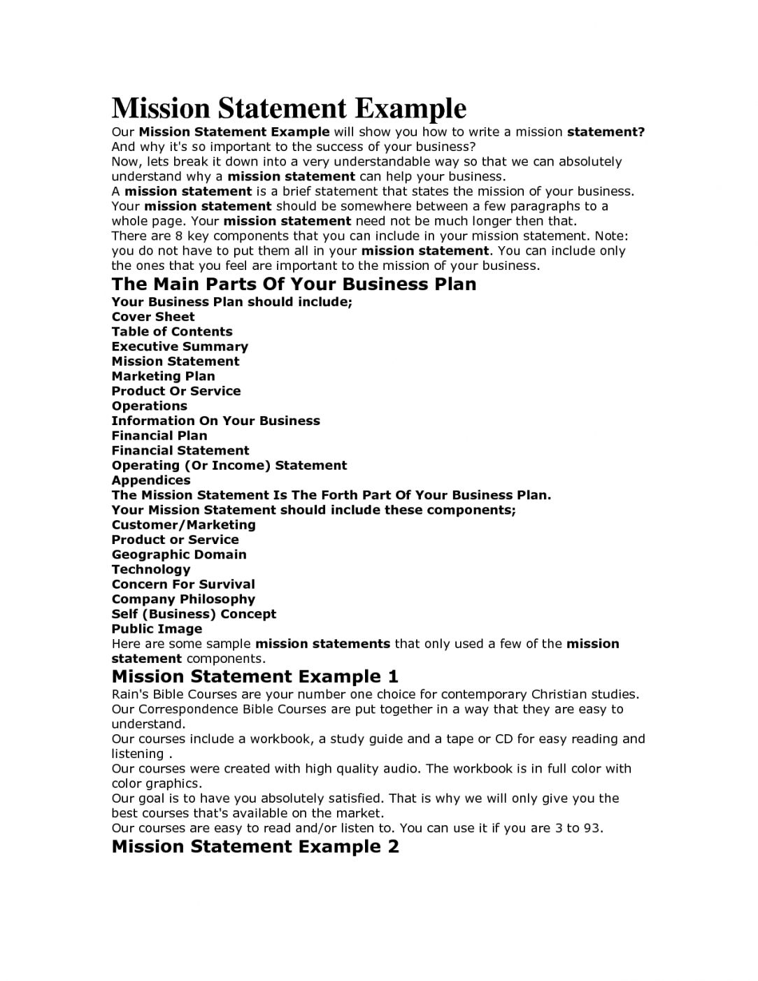 Editable Company Mission Statement Template  Sample