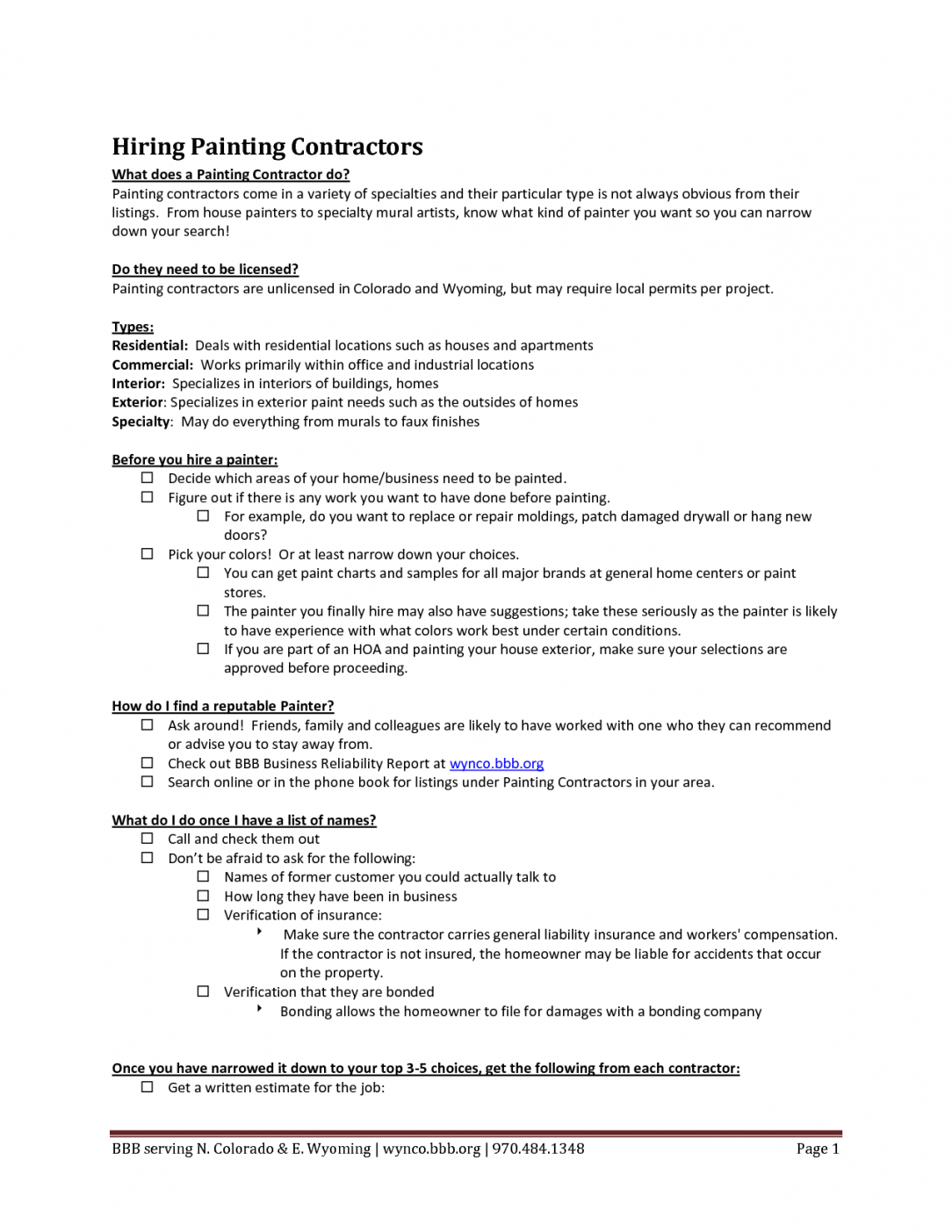 Editable Residential Painting Contract Template Word Sample