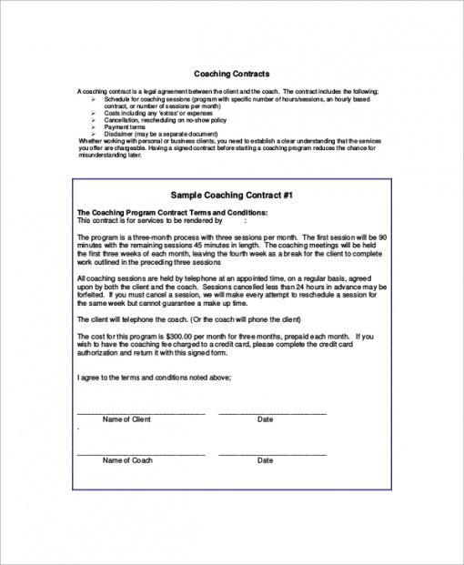 Free Business Coaching Contract Template Excel