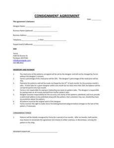 Free Consignment Shop Contract Template Excel Sample