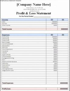 Free Owner Operator Profit And Loss Statement Template Pdf Sample