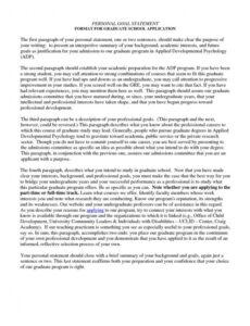 Free Personal Statement For Grad School Template Word Sample